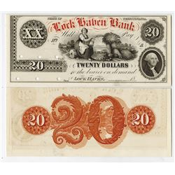 Lock Haven Bank, 18xx, (ca.1850's) Proof Face & Back Obsolete Banknotes.