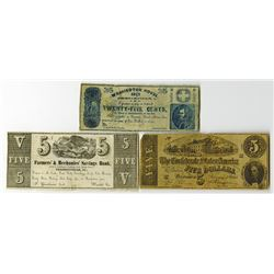 Phoenixville, Pennsylvania, U.S. Obsolete and Ad Note Trio, ca 1860-80's.