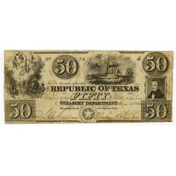 Republic of Texas, 1840, $50 Obsolete Banknote.