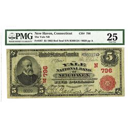 Yale National Bank of New Haven Connecticut, 1902 PB, $5, Charter 796 National Banknote Rarity.