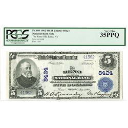 Reno National Bank, 1902 PB, $5, Charter 8424 National Banknote Rarity.