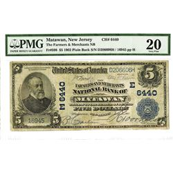Farmers & Merchants National Bank of Matawan, 1902 PB, $5, Charter #6440, National Banknote.