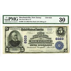 First National Bank & Trust Company of Merchantville, 1902 PB, $5, Charter #8323 National Banknote R