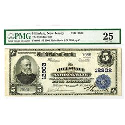 Hillsdale National Bank, 1902 PB, $5, Charter #12902 National Bank Note.