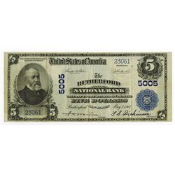 The Rutherford National Bank, NJ, Series of 1902, $5, PB, Ch# 5005 National Bank Note.