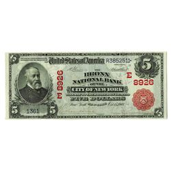 Bronx National Bank of the City of New York, 1902 PB, $5, Charter 8926 National Banknote Rarity.