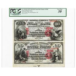The Central National Bank of Washington City, 1875, $10-$20, Uncut Pair Charter #2382, FR.419/434 Na