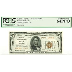Oilfields National Bank in Brea California, 1929 Ty. 2, $5, Charter #13877 National Bank Note.