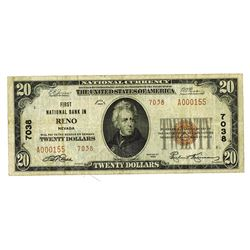 First National Bank in Reno, Nevada, 1929 T2, $20, Charter # 7038.