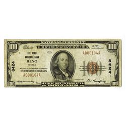 The Reno National Bank, Nevada, 1929 T1, $100, Charter # 8424, National Banknote Rarity.