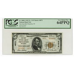 The First National Bank of Princeton, NJ, Series of 1929, $5 TII, Ch#4872, Fr#1800-2, National Bank