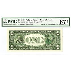 U.S. Federal Reserve Note, Series of 1985, $1, Fr.1913-D, Cleveland, OH, Serial Numbers & Seals on b