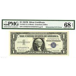 U.S. Silver certificate, Series of 1957B, $1, Fr.1621 (UA Block), Mismatched S/N Error.