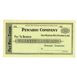 Pewabic Company - Pay Roll Check, Iron Mountain, Michigan, 1907 Remainder Panic Currency/Depression