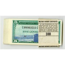 U.S., M.P.C. Series 681, 5 cents Consecutive Half a Pack of 50 notes, Mostly Gem Condition.