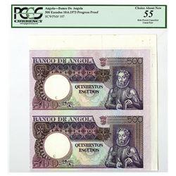 Banco De Angola, 1973 Progress Specimen/Proof Uncut Pair.