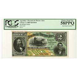 Provincia de Buenos Aires, 1885 Specimen Banknote.