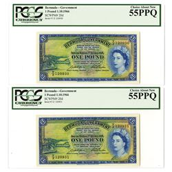 Bermuda Government, 1966 Sequential Banknote Pair.