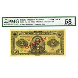 Republica Dos Estados Unidos Do Brasil, Thesouro Nacional, ND (1923) Specimen Banknote.