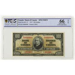 Bank of Canada, 1937, $100 Specimen Banknote.