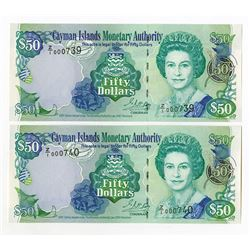 Cayman Islands Monetary Authority, 2001 Revision Issued Sequential Replacement Note Pair.