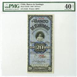 Banco De Santiago, 1886 Issued Obsolete Banknote.