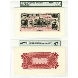 Banco De Union, ND (1887-89)Proof Face and Back Banknote.