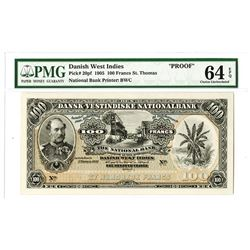 National Bank of the Danish West Indies, 1905 Proof Uniface Specimen Banknote Rarity.