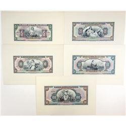 Banco Central Del Ecuador, ND (ca.1939-49) Proof Banknote Quintet.
