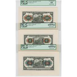 Banco Agricola Comercial, 1922 Proof Banknote Trio.