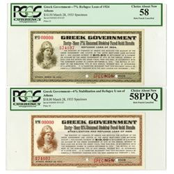 Greek Government, 1933 Refugee Loan  of 1924 & Stabilization and Refugee Loan of 1928 Specimen Scrip