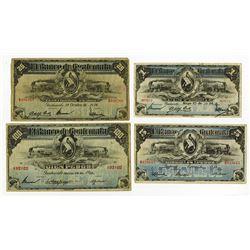 Banco Americano de Guatemala, 1915-1923 Banknote Quartet.