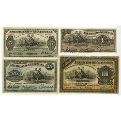 Banco de Guatemala, 1912-1915 Banknote Quartet.