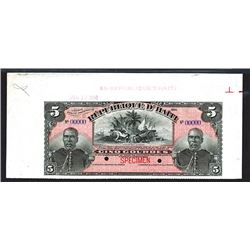 Republique D'Haiti, 1908 High Grade Specimen Banknote