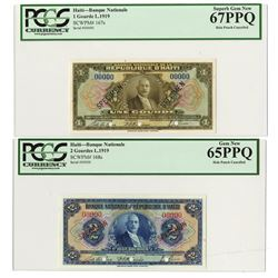 Banque Nationale De La Republique D'Haiti, 1935-42 Third Issue Specimen Pair.