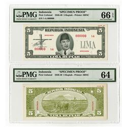 Republik Indonesia, 1948, 5 Rupiah, Specimen Essay Uniface Front & Back Banknote Pair.