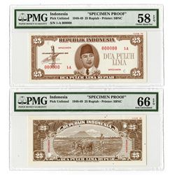 Republik Indonesia, 1948, 10 Rupiah, Specimen Essay Uniface Front & Back Banknote Pair.