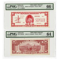 Republik Indonesia, 1948, 25 Rupiah, Specimen Essay Uniface Front & Back Banknote Pair.