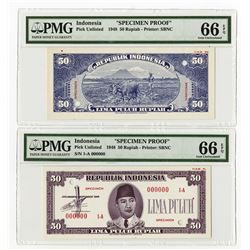 Republik Indonesia, 1948, 50 Rupiah, Specimen Essay Uniface Front & Back Banknote Pair.