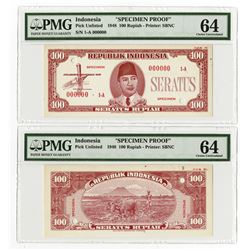 Republik Indonesia, 1948, 100 Rupiah, Specimen Essay Uniface Front & Back Banknote Pair.