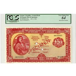 Central Bank of Ireland, 1963 Specimen Banknote.