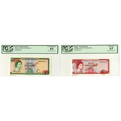 Bank of Jamaica L.1960 (1964) Specimen Banknote Pair.