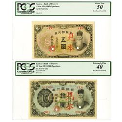 Bank of Chosen,  ND (1944 and 1945) Specimen Banknote Pair.