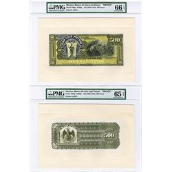 Banco De San Luis Potosi, ND (1897-1913) Proof Uniface Front and Back Banknote.