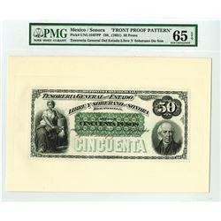 """Tesoreria General Del Estado libre Y Soberano De Sonora, 1880's """"Front Proof Pattern"""" Banknote."""