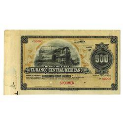 "Banco Central Mexicano, 1899, Specimen Bono de Caja ""Circulating Bond"" Issue."