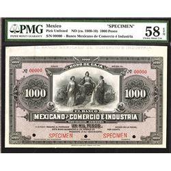 Banco Mexicano de Comercio e Industria, (ca. 1900-1910), Unlisted Specimen
