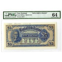 "Bank of New Zealand, 1925 ""SPECIMEN PROOF"" Issue Banknote."