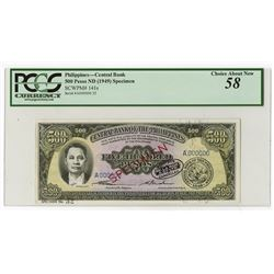 Central Bank of the Philippines, ND (1949) Specimen Banknote.