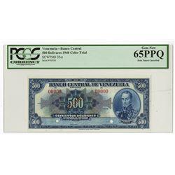 Banco Central De Venezuela, Caracas, 1940 Specimen Blue Color Trial Banknote